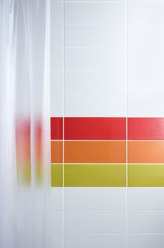 Create a focal part with brightly coloured bathroom tiles from our Vibrants range.