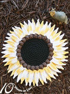 SNAPPY SUNFLOWER Crochet Dishcloth Pattern by 10HoursorLess, $2.95