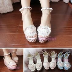 19a1b0749d0 Pink Blue White Lolita Pearl High Platform Shoes SP165333