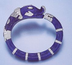 Cartier Paris Carved Lapis Lazuli Chimaera Bangle