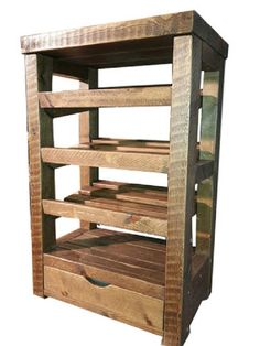 Rustic wooden shoe rack with drawer and table top / shelf. Tall boy design for space saving. Solid wood. Bespoke orders welcomed