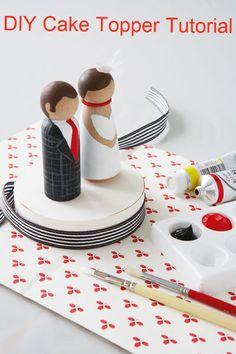 "New DIY Wedding Book: ""Handmade Weddings"" Toys for kids? Diy Wedding Cake Topper, Bride And Groom Cake Toppers, Diy Cake Topper, Wooden Cake Toppers, Wedding Decoration, Diy Wedding Day, Wedding Crafts, Wedding Book, Handmade Wedding"