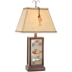 Fishing Lure 28 Inch Table Lamp Vintage Direct Shaded Table Lamps Lamps-for vintage Fishing baby boy room Fishing Room Decor, Fishing Bedroom, Best Fishing Boats, Wood Lamps, Table Lamps, Ceiling Lamps, Vintage Fishing Lures, Baby Boy Rooms, Cool Lighting