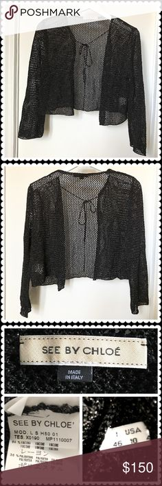 See by Chloe mesh cardigan See by Chloe black mesh cardigan. Great over dresses.  String tie detail. Only wore once. See by Chloe Sweaters Cardigans