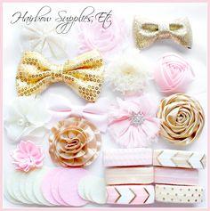 Light Pink, Gold, Ivory Headband Kit - Makes 12 Headbands – Hairbow Supplies, Etc.