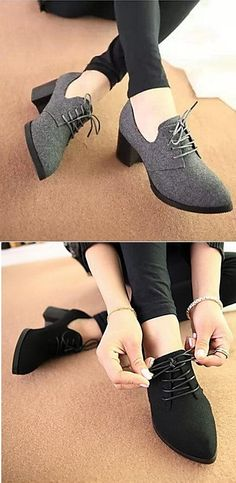 Simply classy oxford shoes with a lovely lace and small chunky <3 Click to get yours for $20.69!