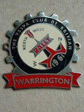 VINTAGE SCOOTER BADGE VESPA CLUB OF BRITAIN WARRINGTON NORTH WEST RALLY 1961