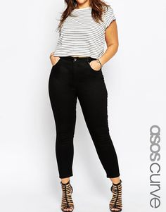 Image 1 of ASOS CURVE Ridley Ankle Grazer Jeans in Clean Black