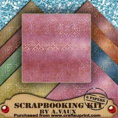 Metallic Embossed Damask Mid Tea 8 Scrapbooking Papers Kit on Craftsuprint - Add To Basket!