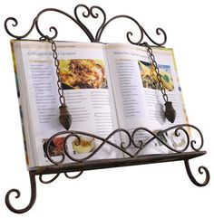 Antique Metal Cookbook Stand ~ Book Holder ~ Easel w/ Weighted Chains