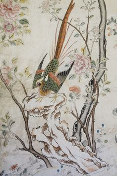 Close up of the wallpaper in the Chinese Bedroom at Felbrigg House, Norfolk