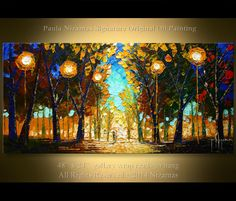 Acrylic and Oil Park Lights Painting  Size 48 x 24 x 3/4  Made to order.  Painted on Gallery back wrapped canvas hand stretched canvas, edges painted in black - READY TO HANG. Medium: PROFESSIONAL grade oil and acrylic colors. Signed and dated on the front and reverse by the artist. This painting was created with palette knife, wood tools and oils in my signature style. A certificate of Authenticity signed and dated by the artist will be included in the package. This artwork is new and in…