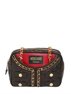 QUILTED JACKET NAPPA LEATHER BAG Moschino