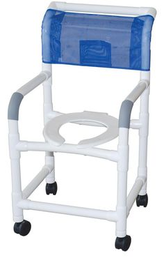 - Healthcare grade PVC shower chairs won't rust, stain or fade color - All models come standard with anti-slip grips and rust-proof casters - Reinforced PVC piping located in stress-related areas for