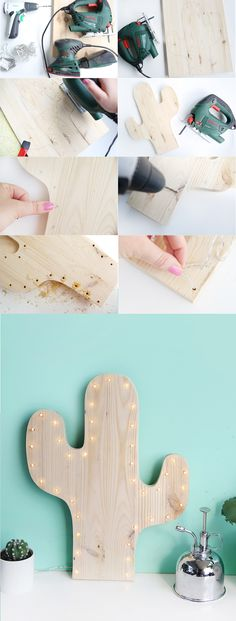 DIY: Kaktus-Lampe mit LEDs selbermachen Creative DIY idea to make yourself: Cactus lamp homemade with LEDs and pine wood DIY Guide Cactus Craft, Cactus Decor, Cactus Diys, Lampe Cactus, Bois Diy, Creation Deco, Diy Tutorial, Diy And Crafts, Easy Diy