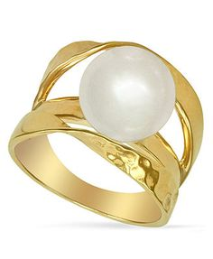 Majorica Pearl Ring, 18k Gold over Sterling Silver Organic Man Made Pearl Ribbon Ring