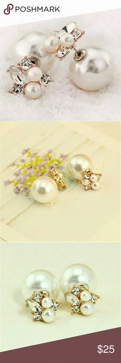 COMING SOON Pearl Rhinestone Double Sided Earrings I am SO excited for these beautiful earrings to get in!!! I hope you are!   Gorgeous faux pearl and rhinestone double sided earrings.  Like to be notified of their arrival via price drop!!! Jewelry Earrings