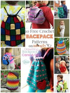Love these #Crochet Backpacks - free patterns! From Mooglyblog.com: