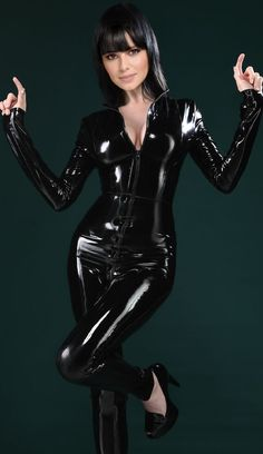 Very sexy latex catsuit.