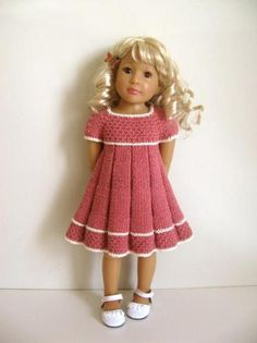 Cute dress for my Samantha doll. Knitting Dolls Clothes, Crochet Doll Clothes, Knitted Dolls, Girl Doll Clothes, Doll Clothes Patterns, Clothing Patterns, Girl Dolls, Barbie Clothes, Ag Dolls