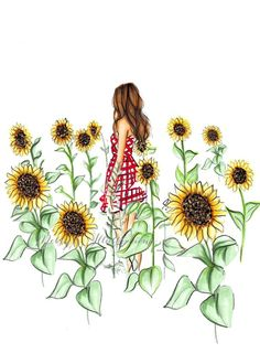 home Illustration Sketch - The Sunflower Field (Fashion Illustration Print) (Fashion Illustration Art Fashion Sketch prints Home Decor Wall Decor ). Sunflower Sketches, Sunflower Illustration, Sunflower Drawing, Illustration Sketches, Illustrations, Sunflower Art, Sunflower Quotes, Girly Drawings, Art Drawings