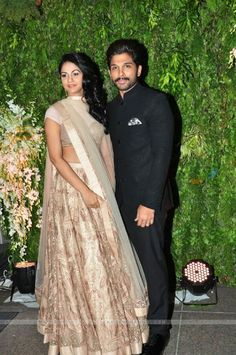 Celebrity Couples, Celebrity Photos, Allu Arjun Hairstyle, Sneha Reddy, Indian Marriage, Asian Wedding Dress, Bollywood Couples, Marriage Dress, Indian Celebrities