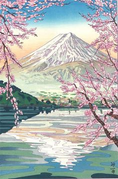 Okada Koichi -The view of Mt.Fuji from Lake Kawaguch - Japanese Woodblock Print Mountains, Nature, Mount Rainier, Culture, Prints, Spring, The Great Outdoors, Natural, Bergen