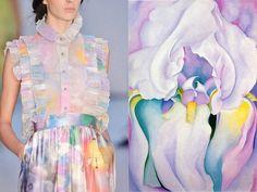 "Fashion & Flowers. Erdem S/S 2009 & ""Light of Iris"" by Georgia Totto O'Keeffe. Collage by Liliya Hudyakova"