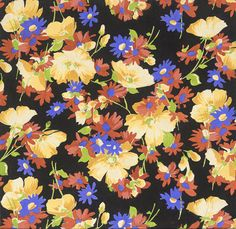Untitled Textile Design of Floral Pattern Elza Sunderland, Textiles, Textile Prints, Textile Patterns, Cool Patterns, Vintage Patterns, Vintage Prints, Textile Design, Flower Patterns, Print Patterns