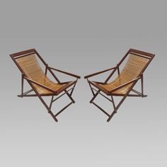 Pair of Chinese Slat Back Folding Lounge Chairs www.rareelements.com