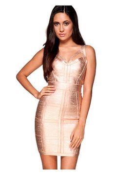 Danielle Rose Gold Bandage Dress