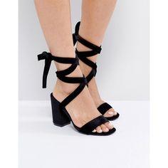 482050b967a Park Lane Tie Ankle Block Velvet Heel Sandal (41 CAD) ❤ liked on Polyvore