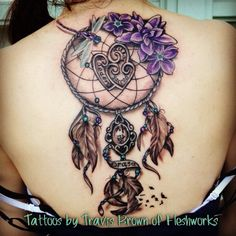 #fleshworkstattoostudio#TravisBrown#Fleshworks#dreamcatcher#backpiece#pretty#anazingink#inked