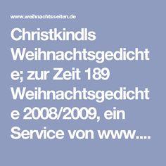Christkindls Weihnachtsgedichte; zur Zeit 189 Weihnachtsgedichte 2008/2009, ein Service von www.weihnachtsseiten.de