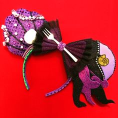 $35.00 - Ariel vs Ursula Ears  - Ariel Shell ear - Ursula Tentacle ear - Gliter bow with a Dinglehopper trim