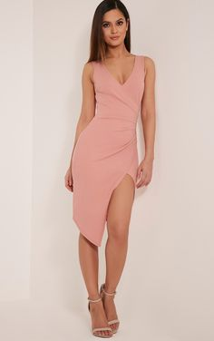Karley Dusty Pink Wrap Front Crepe Midi Dress Image 1