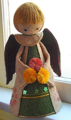 Retro Angel Burlap and Jute Ornament 1970s, Christmas Tree Topper Figure
