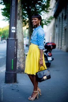 bright skirt, denim shirt