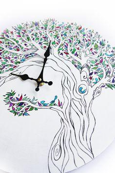 Orologio da parete dipinto a mano con albero : Decorazioni murali di mammabook