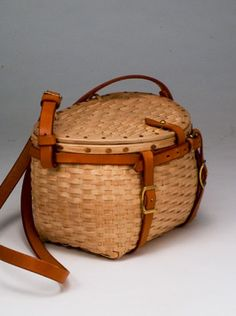 Trout Creel Purse - brown ash, brass, and leather - by Stephen Zeh