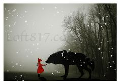 "Red riding hood art, Grimm's Fairy tales inspired little red riding hood series, This is print 1. ""Innocence"" prints in oil paint style. Archival quality, Giclee print on ultra premium luster photo pa"