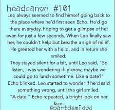 101 <<< if I didn't ship Caleo, i would ship Leo and Echo <3