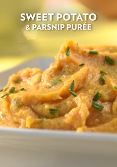 Sweet Potato & Parsnip Puree - Tired of the usual mashed potatoes? Try this fabulous purée that combines sweet potatoes and parsnips seasoned with butter, brown sugar, black pepper and chives. Potato Side Dishes, Vegetable Side Dishes, Parsnip Puree, Dinner Entrees, Christmas Cooking, Side Recipes, One Pot Meals, Thanksgiving Traditions