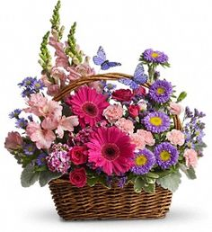 Order Country Basket Blooms flower arrangement from Neffsville Flower Shoppe, your local Lancaster, PA florist. Send Country Basket Blooms floral arrangement throughout Lancaster, PA and surrounding areas. Basket Flower Arrangements, Beautiful Flower Arrangements, Floral Arrangements, Beautiful Flowers, Birthday Flower Arrangements, Ikebana, Fresh Flowers, Spring Flowers, Flowers Garden