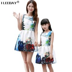 d81fcbc09ce European and American Family Matching Outfits clothes dress women dress  girl mom baby kid mother and daughter dresses Green …