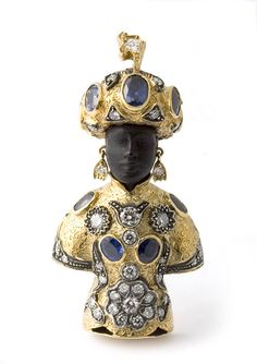 """NARDI JEWELER ~ PIAZZA SAN MARCO, VENICE 18k gold """"Elizabeth Taylor Moretto"""" brooch set with sapphires and diamonds"""