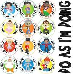 """susan fitch design: """"Do As I'm Doing"""" action cards"""