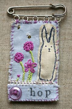 Hop the Bunny Rabbit Textile Linen and Silk Embroidered Brooch on Kilt Pin £25.00