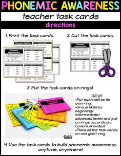 phonemic awareness teacher task cards