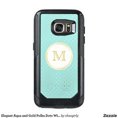 Elegant Aqua and Gold Polka Dots With Monogram OtterBox Samsung Galaxy S7 Case